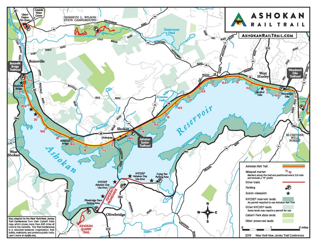 Ashokan Reservoir Rail Trail Map